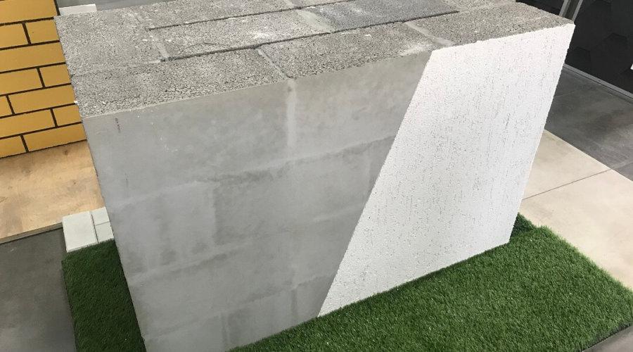 стена толщиной 60 см из керамзитобетонных блоков с отделкой